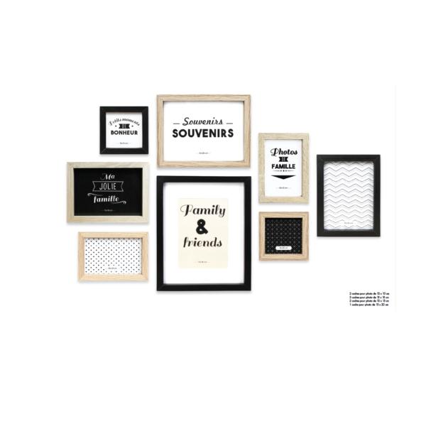 Ξύλινες Κορνίζες Σετ 8 Καφέ/Μπεζ/Μαύρο 27,3x2x22,2 cm