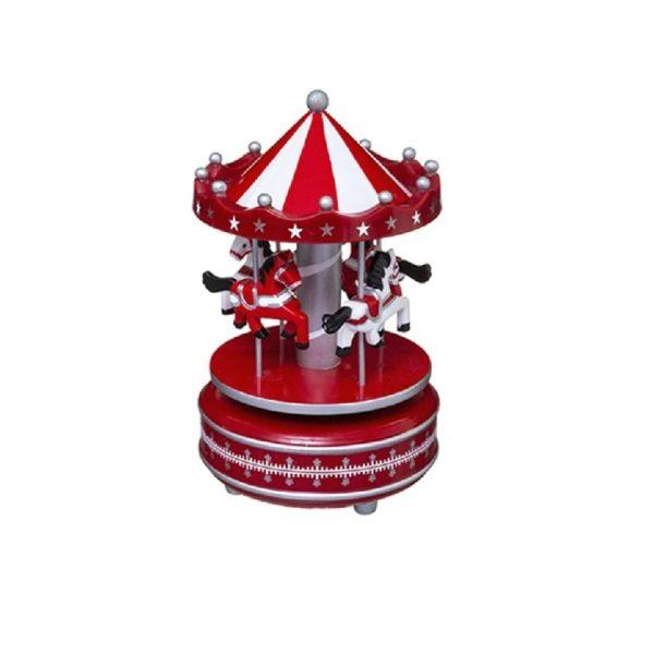 Ξύλινο Καρουζέλ σε Κόκκινο Χρώμα 20x11,5cm