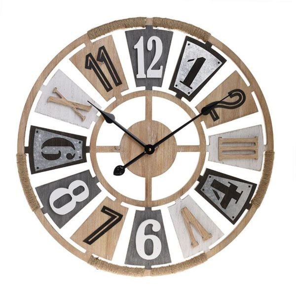 Inart Ρολόι Τοίχου Φυσικό μπεζ Σίδερο MDF 60x5x60 cm