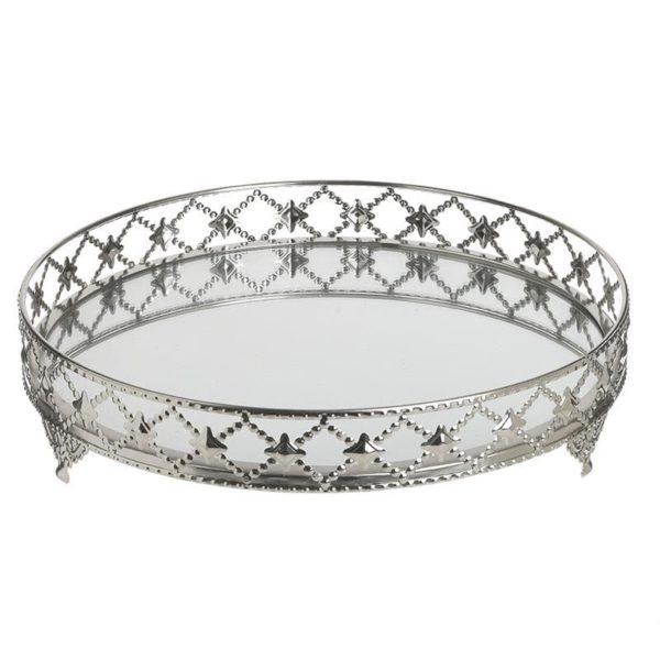 Inart Δίσκος Ασήμι Σίδερο   Γυαλί 30x30x6 cm