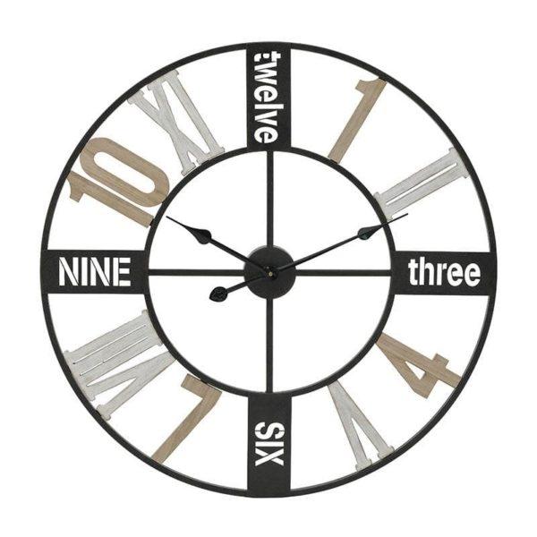 Inart Ρολόι Τοίχου Φυσικό μπεζ,Λευκό-Ελεφαντόδοντο,Μαύρο Σίδερο MDF 70x4x70 cm