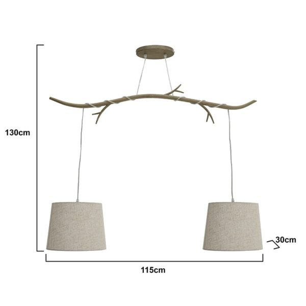 Inart Φωτιστικό Οροφής Φυσικό μπεζ Σίδερο 115x30x130 cm