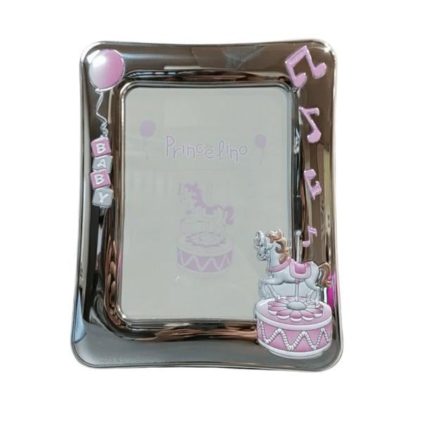Ασημένια παιδική κορνίζα εκρού καρουζέλ ροζ Prince Silvero 13x18cm