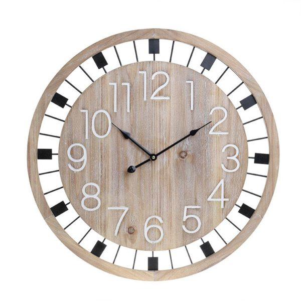 Inart Ρολόι Τοίχου Μαύρο,Φυσικό μπεζ Σίδερο MDF 60x5x60 cm