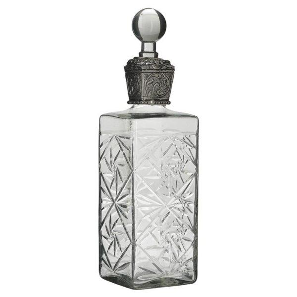 Inart Καράφα Διαφανές,Ασήμι Σίδερο   Γυαλί 10x10x36 cm