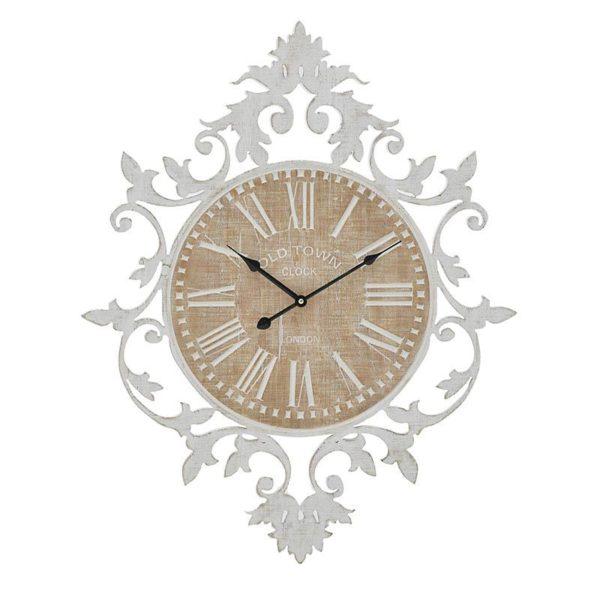 Inart Ρολόι Τοίχου Φυσικό μπεζ,Λευκό-Ελεφαντόδοντο  MDF 60x5x75 cm