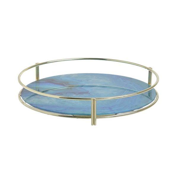 Inart Δίσκος Χρυσό,Μπλε Σίδερο   Γυαλί 27x27x5 cm