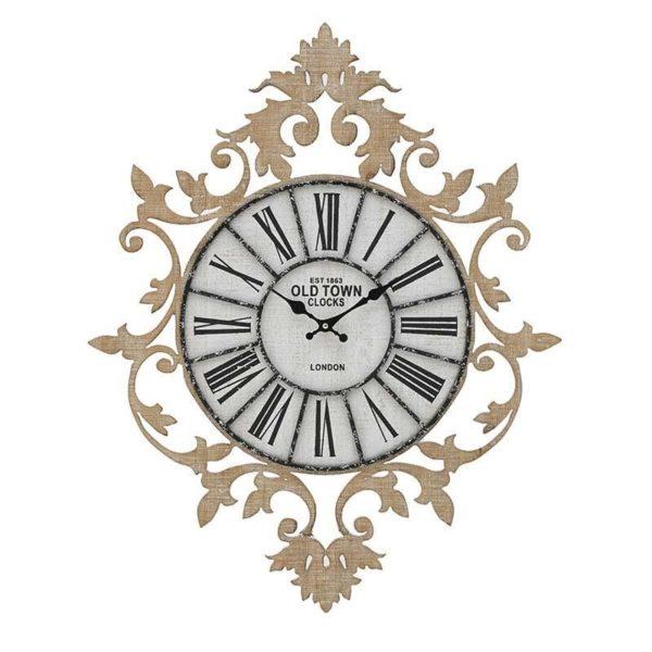 Inart Ρολόι Τοίχου Λευκό-Ελεφαντόδοντο,Φυσικό μπεζ  MDF 60x5x75 cm