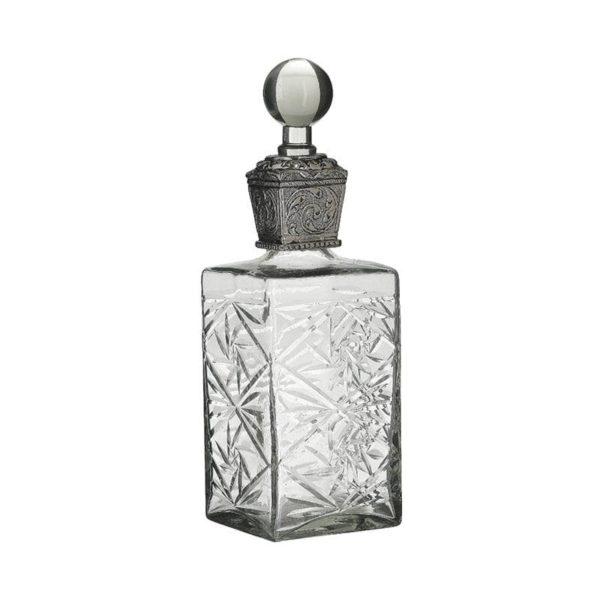 Inart Καράφα Διαφανές,Ασήμι Σίδερο   Γυαλί 10x10x31 cm