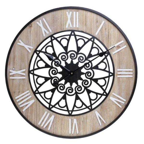 Inart Ρολόι Τοίχου Φυσικό μπεζ,Μαύρο Σίδερο MDF 60x5x60 cm