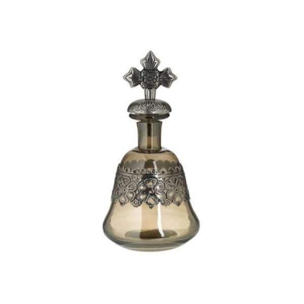 Inart Καράφα Ασήμι,Διαφανές Σίδερο   Γυαλί 14x14x27 cm