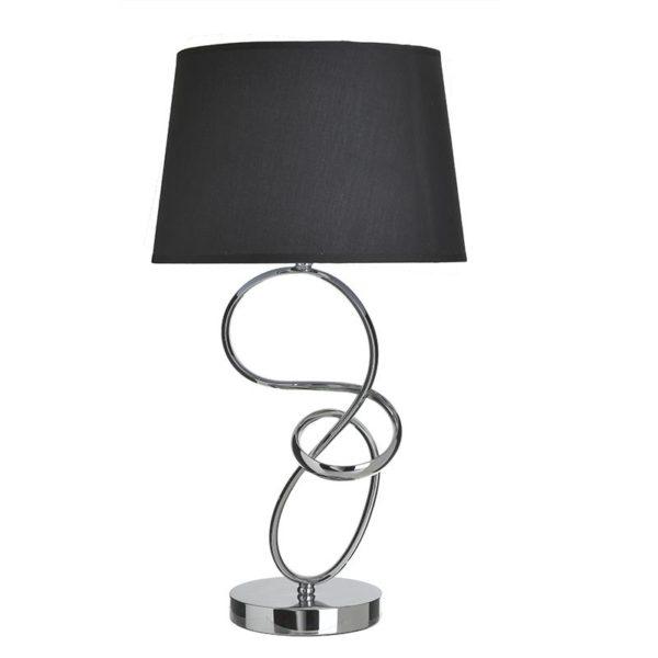 Inart Επιτραπέζιο Φωτιστικό Μαύρο,Ασήμι Σίδερο 30x30x55 cm