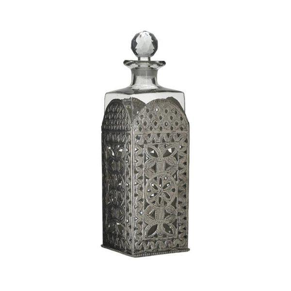 Inart Καράφα Ασήμι,Διαφανές Σίδερο   Γυαλί 10x10x30 cm