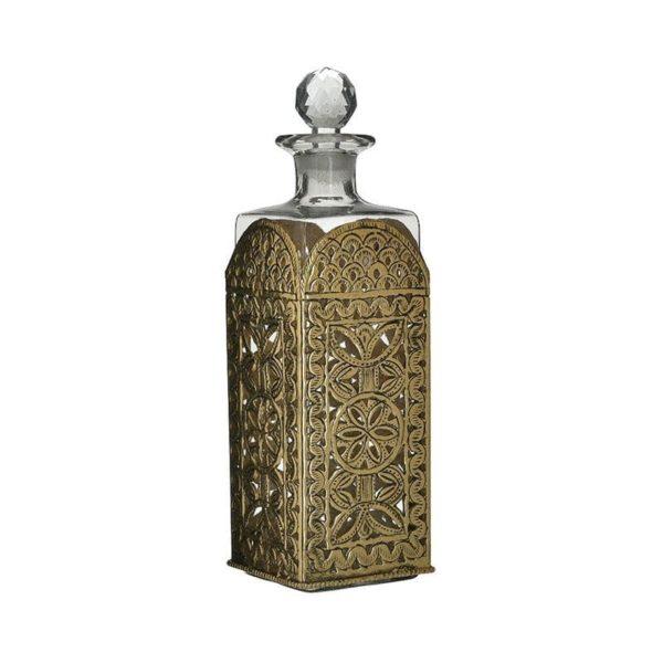Inart Καράφα Διαφανές,Χρυσό Σίδερο   Γυαλί 10x10x30 cm