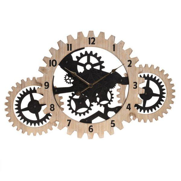 Inart Ρολόι Τοίχου Φυσικό μπεζ,Μαύρο Σίδερο MDF 70x4x45 cm