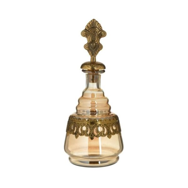 Inart Καράφα Χρυσό Σίδερο   Γυαλί 13x13x35 cm