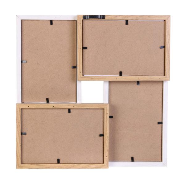 Ξύλινη Φωτογραφοθήκη 4 θέσεων Λευκή/Μπεζ 28x27,5cm