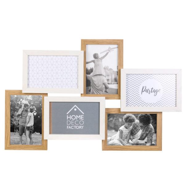 Ξύλινη Φωτογραφοθήκη 6 θέσεων Λευκή/Μπεζ 31,50x3,40x49 cm