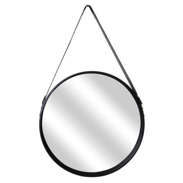 Καθρέφτης Τοίχου Στρογγυλός με Λαβή Plastic Μαύρο 65,50x4x50 cm