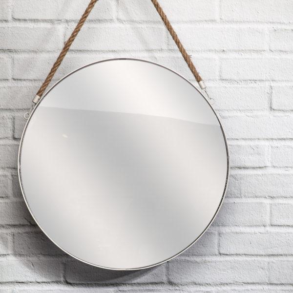 Καθρέφτης Τοίχου Στρογγυλός με Λαβή Plastic Λευκός 50x3x50 cm