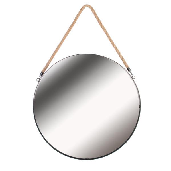 Καθρέφτης Τοίχου Στρογγυλός με Λαβή Plastic Μαύρο 50x3x50 cm