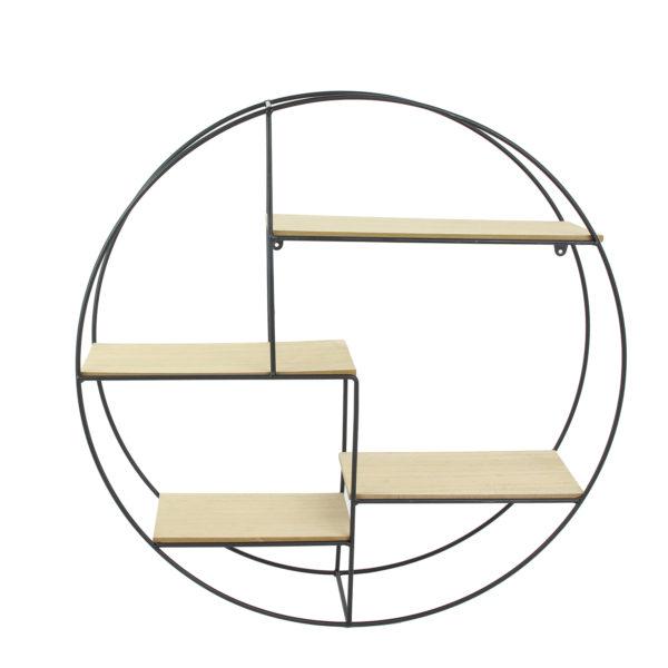 Επιτοίχιο Ράφι Στρογγυλό Rond MDF/Metal 80×12x80 cm