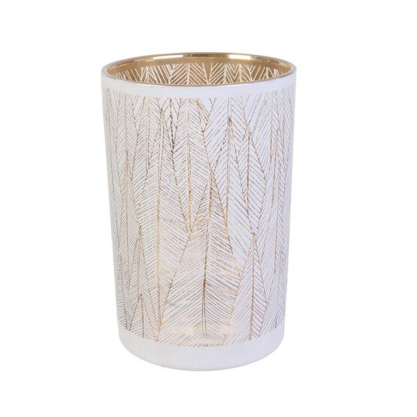 Γυάλινο Βάζο Μοτίβο Λευκό Χρυσό 20 x 12cm