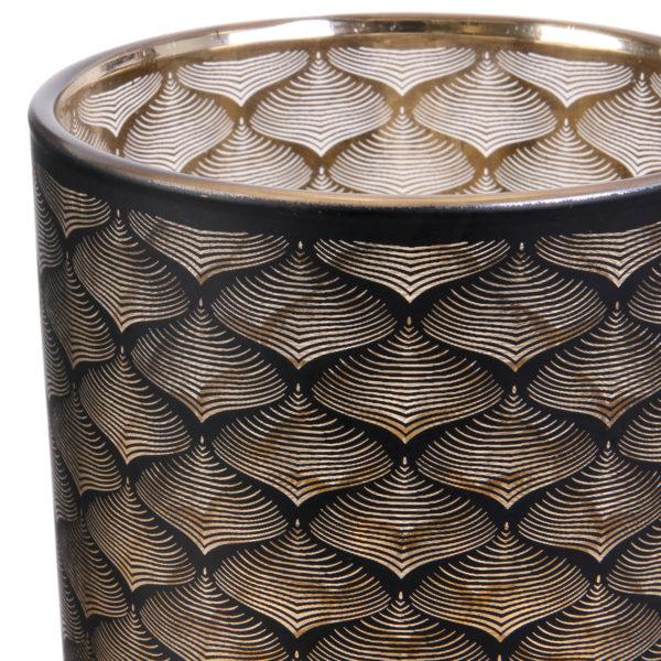 Γυάλινο Βάζο Μοτίβο Μαύρο Χρυσό 20 x 12cm