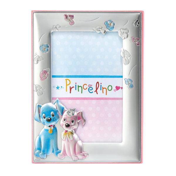 Ασημένια Κορνίζα Ροζ Σκυλάκια Prince Silvero 9x13cm