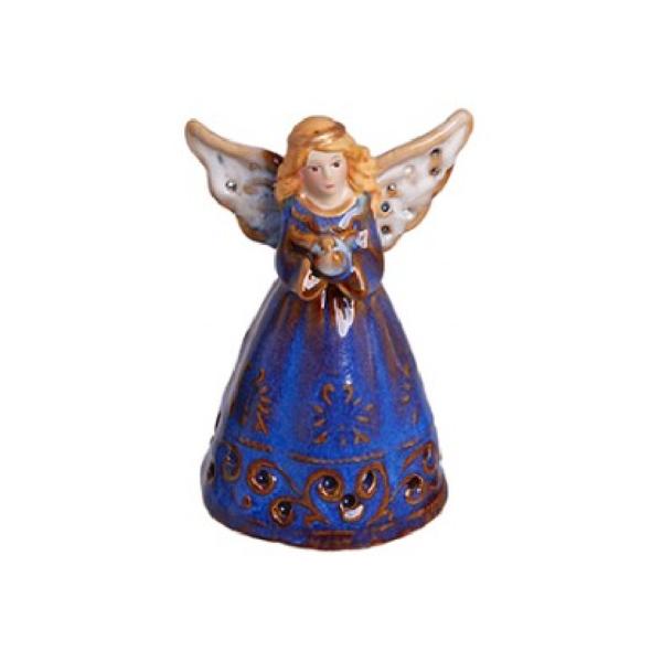 Χριστουγεννιάτικο Διακοσμητικό Καμπανάκι Αγγελάκι B Μπλε Κεραμικό