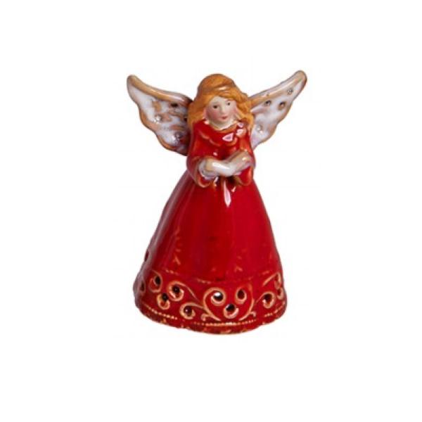 Χριστουγεννιάτικο Διακοσμητικό Καμπανάκι Αγγελάκι D Κόκκινο Κεραμικό