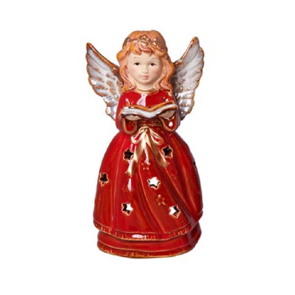 Χριστουγεννιάτικο Διακοσμητικό Κεραμικό Ρεσώ Αγγελάκι A Κόκκινο