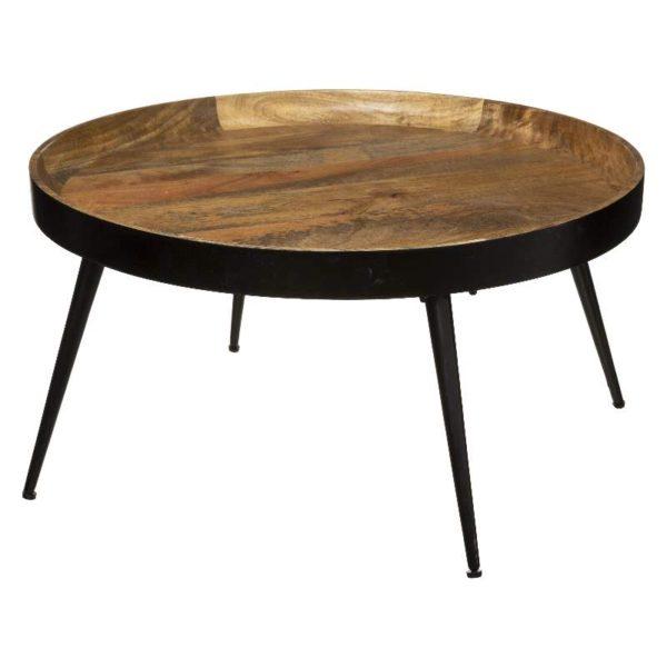 Τραπέζι Σαλονιού Siwan Μέταλλο-Ξύλο Μαύρο/Καφέ 70x36 cm