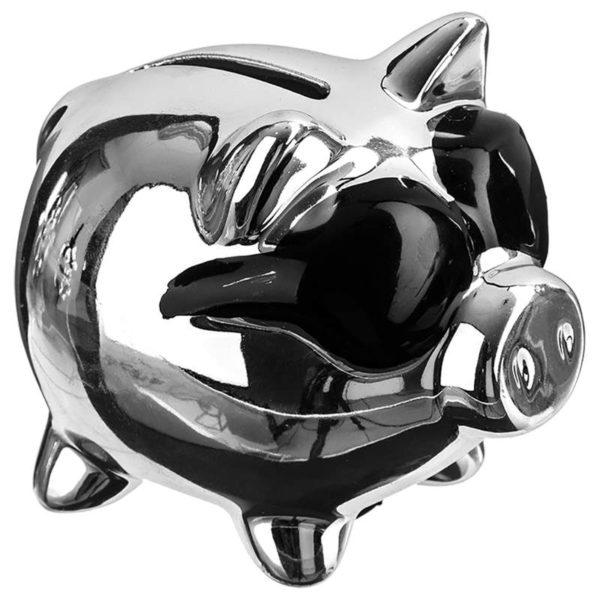 Κουμπαράς Γουρουνάκι με Γυαλιά Κεραμικό Ασημί/Μαύρο 9x7x8,5 cm