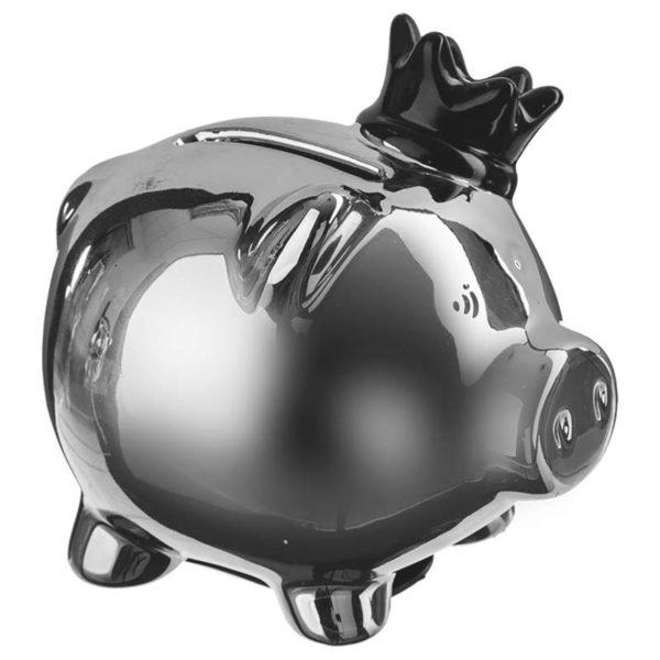 Κουμπαράς Γουρουνάκι με Στέμμα Κεραμικό Ασημί/Μαύρο 9x7x8,5 cm