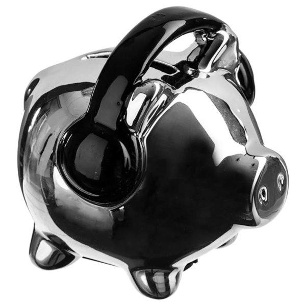 Κουμπαράς Γουρουνάκι με Ακουστικά Κεραμικό Ασημί/Μαύρο 9x7x8,5 cm