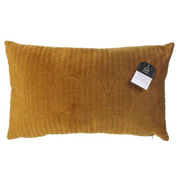 Διακοσμητικό Μαξιλαράκι ''Home'' Υφασμάτινο Κίτρινο-Μουσταρδί 30x50 cm