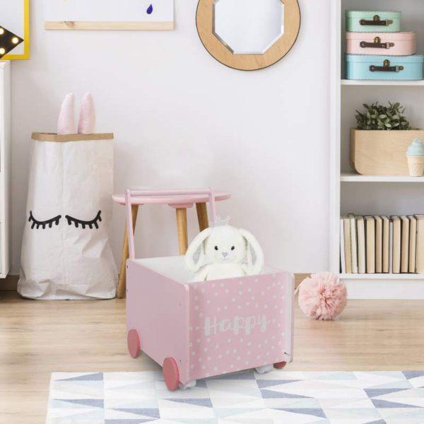 Τρόλεϊ Αποθήκευσης για Παιχνίδια Ξύλινο ροζ ''Happy'' 47.50x47.00x35.00 cm