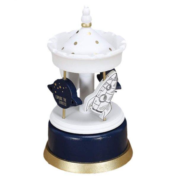 Παιδικό Μουσικό Καρουζέλ Ξύλινο Διάστημα Λευκό/Μπλε/Χρυσό 20.30x11.50x11.50 cm