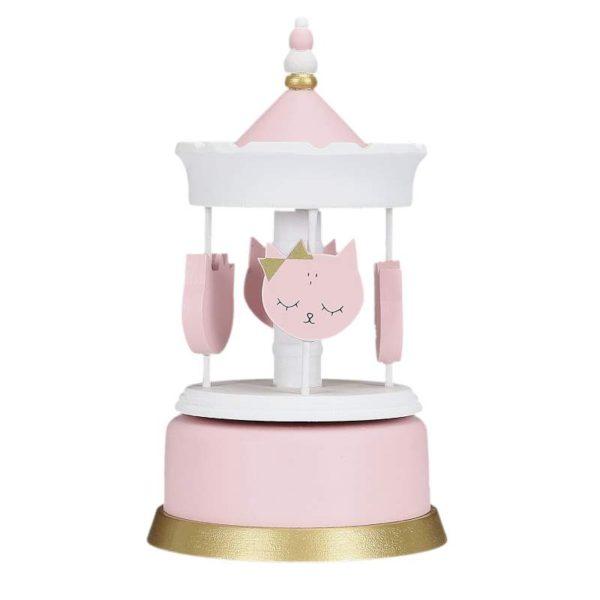 Παιδικό Μουσικό Καρουζέλ Ξύλινο Νυσταγμένα Γατάκια Λευκό/Ροζ/Χρυσό 20.30x11.50x11.50 cm