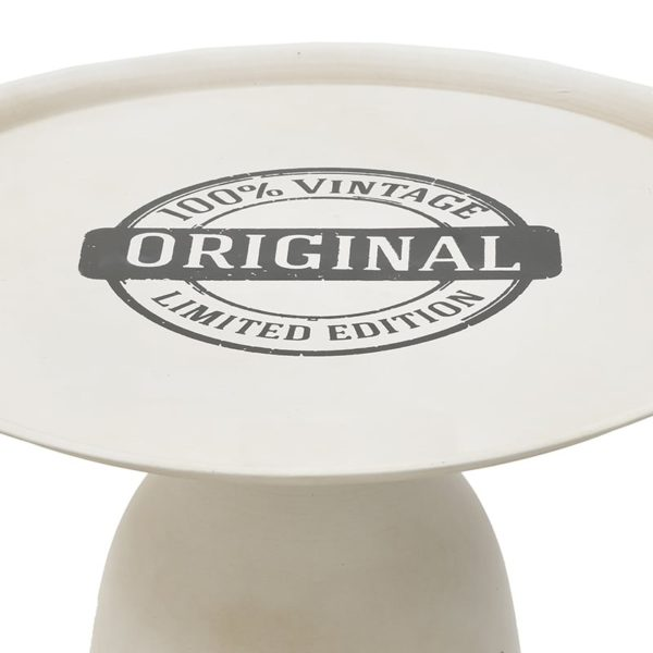 Inart Τραπεζάκι Λευκό-Ελεφαντόδοντο Σίδερο 50x50x42 cm