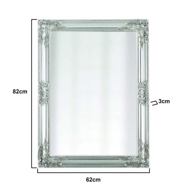 Inart Καθρέπτης Τοίχου Ασήμι    Πολυρεσίνη,Γυαλί 62x2x82 cm